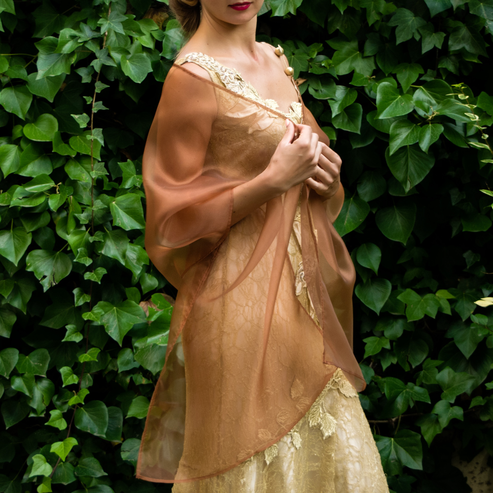 a75a7a45c136 Brown Bronze Organza shawl – Bridal Spain
